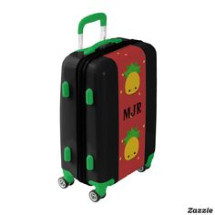 Colorful Carry On Luggage with 4 wheels. Your custom initials make this piece extra special. A luggage that will stand out with greens and reds and cute yellow pineapples. Bon voyage.