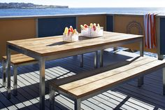 Eco Outdoor Lennox dining table with bench seats. Available in 2 sizes. Outdoor furniture | livelifeoutdoors |  Patio furniture | Outdoor dining | Teak outdoor | Outdoor design | Outdoor style | Outdoor luxury | Designer outdoor furniture | Outdoor design inspiration | Pool side furniture | Outdoor ideas | Luxury homes