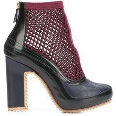 Pierre Hardy X Sacai mesh ankle boots ($1,295) ❤ liked on Polyvore featuring shoes, boots, ankle booties, black, black platform booties, high heel booties, platform booties, platform ankle boots and chunky platform booties