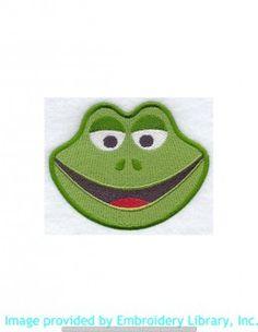 Stickmotiv Stickbild Aufnäher Stickerei Emblem Frosch  Frosch /  Stickerei Frog Face (A4411)