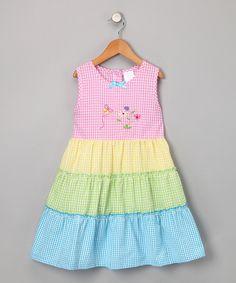 Rainbow Seersucker Blossom Dress - Girls