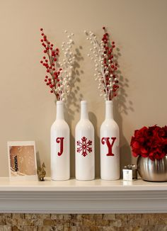 Joy Wine Bottles, Christmas Decoration, Christmas Joy Wine Bottles, Christmas Decorations, Joy, Christmas Wine Bottles by BriEllaCreations on Etsy https://www.etsy.com/listing/255270829/joy-wine-bottles-christmas-decoration