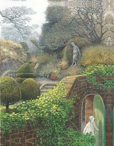 There Was A Door In The Ivy. The Secret Garden by Frances Hodgson Burnett, Illustration by Inga Moore. Art And Illustration, Book Illustrations, The Secret Garden, Secret Gardens, Artist Profile, Conte, Clipart, Garden Art, Fantasy Art