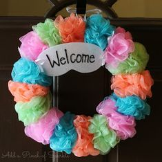 """""""April showers craft"""" Loofah sponges tied or glued to a cardboard form - think of the color and embellishment ideas! Wreath Crafts, Diy Wreath, Diy Crafts, Wreath Making, Wreath Ideas, Spa Birthday Parties, Spa Party, 10th Birthday, Easter Wreaths"""