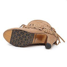 Donne stivali invernali moda nappe stivali punta rotonda sottili tacchi caviglia - €28.79