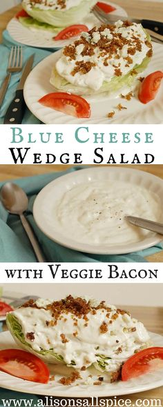 Homemade blue cheese dressing and veggie bacon made from smoked tofu.  Blue cheese wedge salad - From Alisons' Allspice!