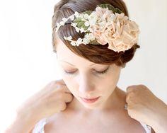 bridal hair, wedding accessories, pink rose flower crown, bridal head piece, flower crown - BOTANICA. $85.00, via Etsy.