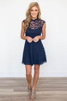 Shop our BB Dakota: Becky Lace Embroidered Dress in Navy. The perfect dress to wear to a fall wedding. Always free shipping on all US orders.