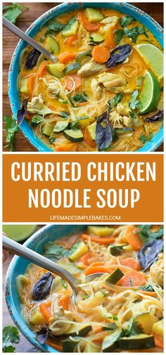 This light and flavorful Thai-inspired curried chicken noodle soup is bothhealthy anddelicious! It'll have you coming back for more! Chicken Gnocchi Soup, Chicken Noodle Soup, Chicken Chili, Soup Recipes, Dinner Recipes, Cooking Recipes, Copycat Recipes, Chicken Recipes, Orange Chicken