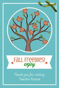 Fall FREEBIES for your classroom on TeacherKarma.com