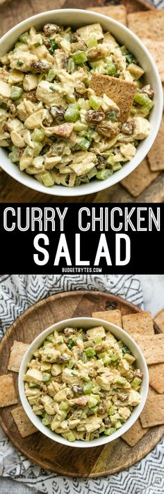 Curry Chicken Salad is a quick and tasty alternative to your traditional chicken salad with exotic curry spices, sweet raisins, and crunchy almonds. @budgetbytes
