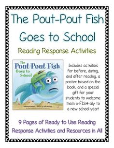 the pout pout fish goes to school growth mindset reading response activities