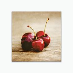 "Ready-to-hang wrapped canvas print of cherries, large rustic country kitchen fruit wall art on canvas, sizes 6x6 to 30x30. Title: Sweet Summer Canvas prints are professionally-stretched onto a 1.25"" w"