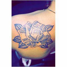Money rose tattoo Destiny ✨ – Tattoo, Tattoo ideas, Tattoo shops, Tattoo actor, Tattoo art - Famous Last Words Girly Tattoos, Pretty Tattoos, Foot Tattoos, Unique Tattoos, Cloud Tattoos, Side Hand Tattoos, Gun Tattoos, Neck Tattoos, Thigh Tattoos