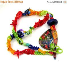 SALE Colorful necklace Beaded jewelry Boho jewelry Gift by ibics