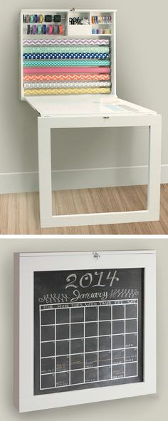 Fold down gift wrap station and craft table with chalkboard - so clever! #product_design #furniture_design