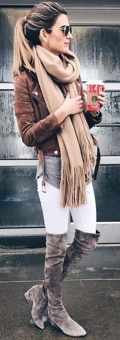 #winter #fashion /  Brown Jacket / Beige Fringe Scarf / White Slkinny Jeans / Grey OTK Boots #winteroutfits