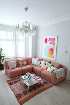 littleBIGBELL How to style a pink sofa. My coral pink sofa from dfs Living Room Sets, Living Room Furniture, Living Room Decor, Pink Sofa, Corner Sofa, Room Corner, Modern Room, Home Decor Inspiration, Color Inspiration