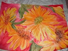 Large Original Watercolor of Big Sunflowers 22 by SharonFosterArt, $85.00