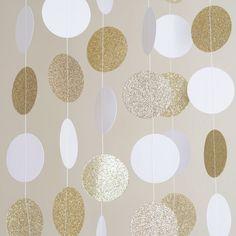Circle Dots Paper Garland - 10 Feet Long - White & Gold Glitter – Party N Beyond