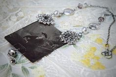 Wonderful antique tintype photo pendant necklace.  Upcycled soldered.