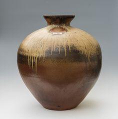 Wood-fired stoneware pots using a cross-draught, single-chamber 800 cu.ft. kiln. Designed by Svend Bayer - Joanna Bird
