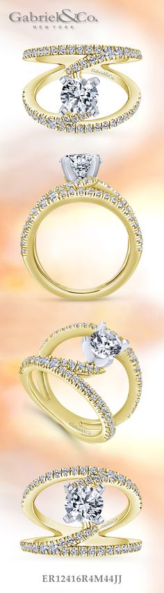 Gabriel & Co. - Voted #1 Most Preferred Bridal Brand.   Our popular Nova ring is a stunning Yellow Gold/White Gold Round Split Shank  Engagement Ring.