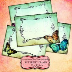 vintage scrapbook butterfly tag, green tags digital collage sheet. Printable download.