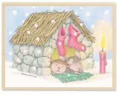 HMJR1068 Night Light - House Mouse Rubber Stamps by Stampabilities