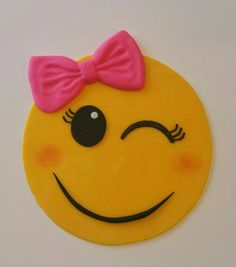 7 inch Emoji cake topper with pink bow. by BrezzysCreations