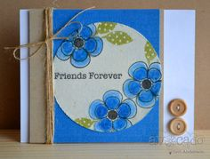 Teri Anderson, canvas, buttons, rich blue, kraft, twine
