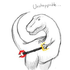"I truly LOLed.  never thought about T-Rex's limitations... and how a little ""tool"" could make it unstoppable. Good lesson."