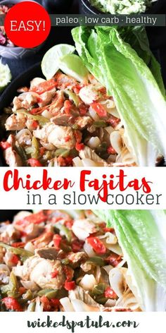 These slow cooker chicken fajitas are nice and tender and while they do taste differently from when I make them on the stove top they were still fantastic. Theyre always a bit greasy when made in the skillet which admittedly I love. Paleo Crockpot Recipes, Paleo Chicken Recipes, Healthy Recipes, Cooker Recipes, Keto Recipes, Healthy Food, Healthy Chicken, Lunch Recipes, Healthy Meals