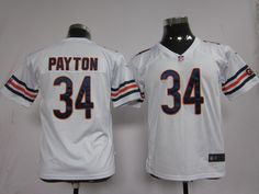 Kid's Nike NFL Chicago Bears #34 Walter Payton White Game Jersey  $19 per piece, 10 orders will be free shipping, more orders, more discount. Quality is guaranteed! If you are interested in them, pleases E-mail  chinawholesalejerseys@outlook.com