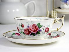 Royal Chelsea Pink Rose, Tea Cup and Saucer,  English Bone China, 12422 - The Vintage Teacup - 1