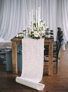 This calligraphed table runner. | 21 Amazing Wedding Ideas To Pin Right Now