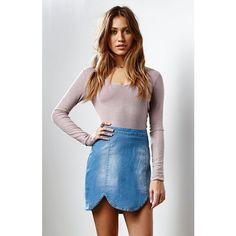 Minkpink Daydream Believer Denim Mini Skirt ($69) ❤ liked on Polyvore featuring skirts, mini skirts, denim skirt, minkpink skirt, short mini skirts, denim button skirt and scalloped mini skirt