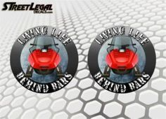 """2 Living Life Behind Bars Snowmobile Sled 5"""" Round Vinyl Stickers"""