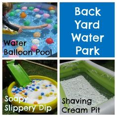 I CAN NOT WAIT TO DO THIS! maybe end of school party? Inspiring Ideas to set up your very own Back Yard Water Park {learning4kids.net}