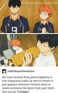 the best thing is Hinata does the same? like when Kageyama is irritated and the group is commenting on it Hinata ran forward and asked him what was up, for better or for worse he occasionally interrupts whatever Kageyama is doing to pester him Kageyama X Hinata, Haikyuu Karasuno, Haikyuu Fanart, Haikyuu Ships, Haikyuu Characters, Anime Characters, Fictional Characters, Anime Bl, Dark Anime
