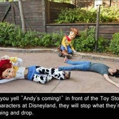 """Andy's coming!"" How funny is this in front of the Toys ride. Great blog of Disneyland Secrets: Hidden Tips and Secrets for Disney Guests. Guess it isn't so secret anymore. :) - TsumTsumPlush.com best website for plush toys"