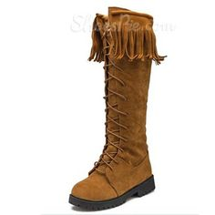 cool Shoespie Suede Tassels Knee High Snow Boots