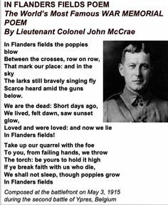 In Flanders Fields The Great, Remembrance Sunday, Flanders Field, Memorial Poems, Lest We Forget, God Bless America, Life Advice, The Good Old Days, World War I