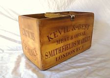 Trug Beautiful Vintage Antiqued Wooden Box Smithfields Meat Market Small Box Crate