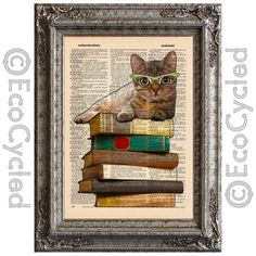 New to EcoCycled on Etsy: Cat and Books 1 on Vintage Upcycled Dictionary Art Print Book Art Print Recycled Reading Read Literacy (10.00 USD)