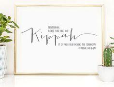 Kippah it on Your Head Sign | Yarmulke, Kippot Sign | 4x6 Instant Printable Download for Wedding or Bar/Bat Mitzvah Signage
