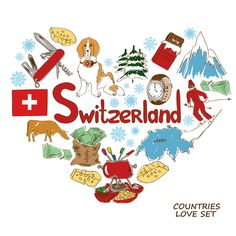 Symbols Of Switzerland In Heart Shape Concept Stock Vector - Illustration of animal, love: 49116043 Free Printable Clip Art, Maps For Kids, Thinking Day, Vintage Paper Dolls, Kids Boxing, Disney Wallpaper, Preschool Crafts, Clipart, Book Design