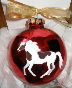 PInto Horse Hand Painted Christmas Ornament  Can by PaintedPooches, $18.75