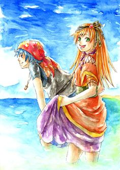 Serge and Leena  Chrono Cross  「クロノクロス」/「Ag」のイラスト [pixiv] http://www.pixiv.net/member_illust.php?mode=medium&illust_id=1642102