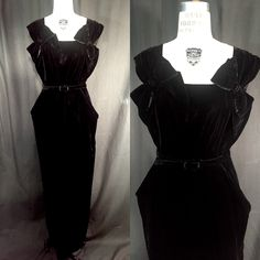 1950s old Hollywood black velvet draped bow exquisite formal long floor length evening gown party pillar sculptural dress accented hips by SilkFortVintage on Etsy https://www.etsy.com/listing/260048825/1950s-old-hollywood-black-velvet-draped